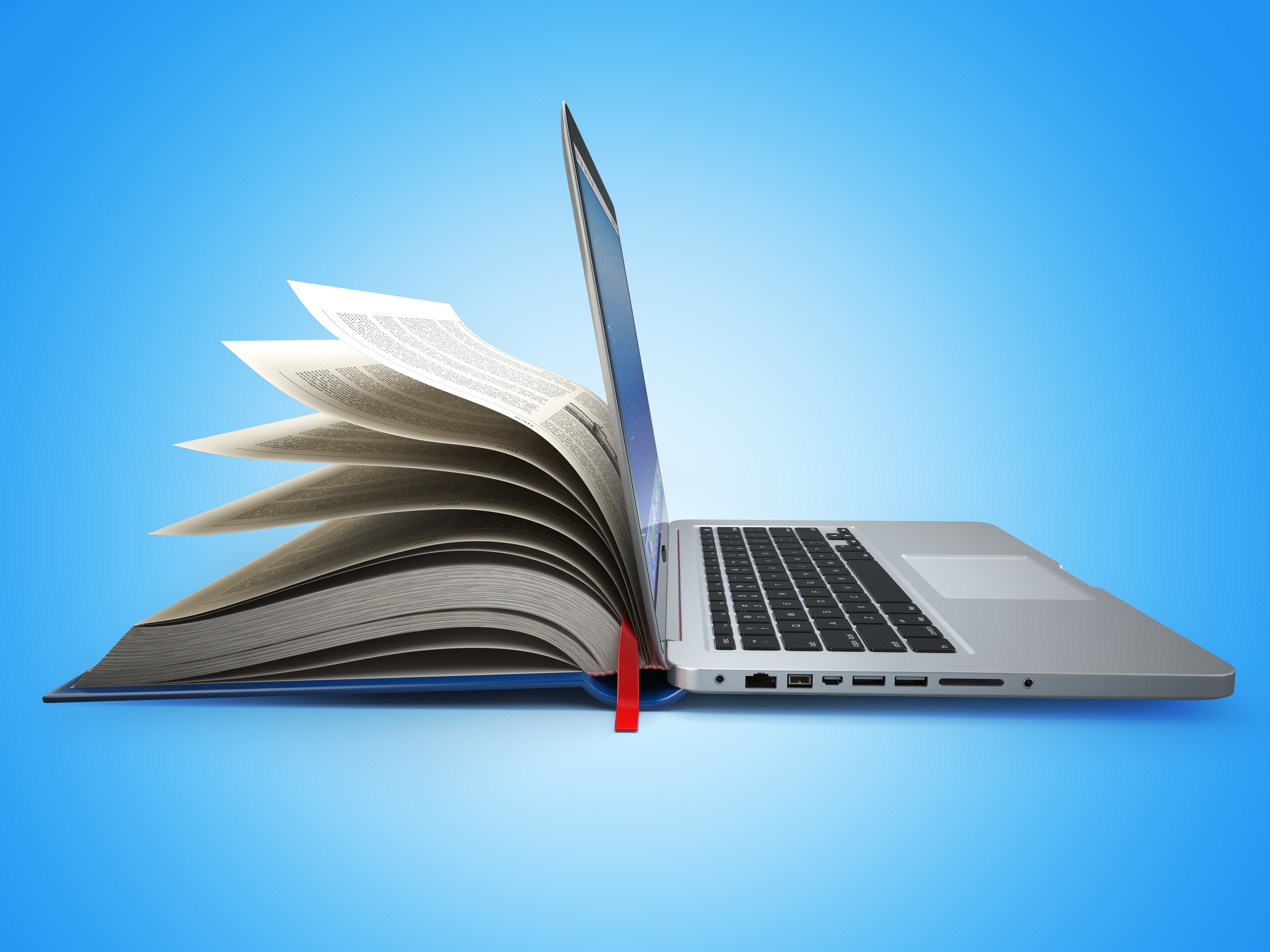E-learning. Concept of education. Internet labrary. Book and Lap